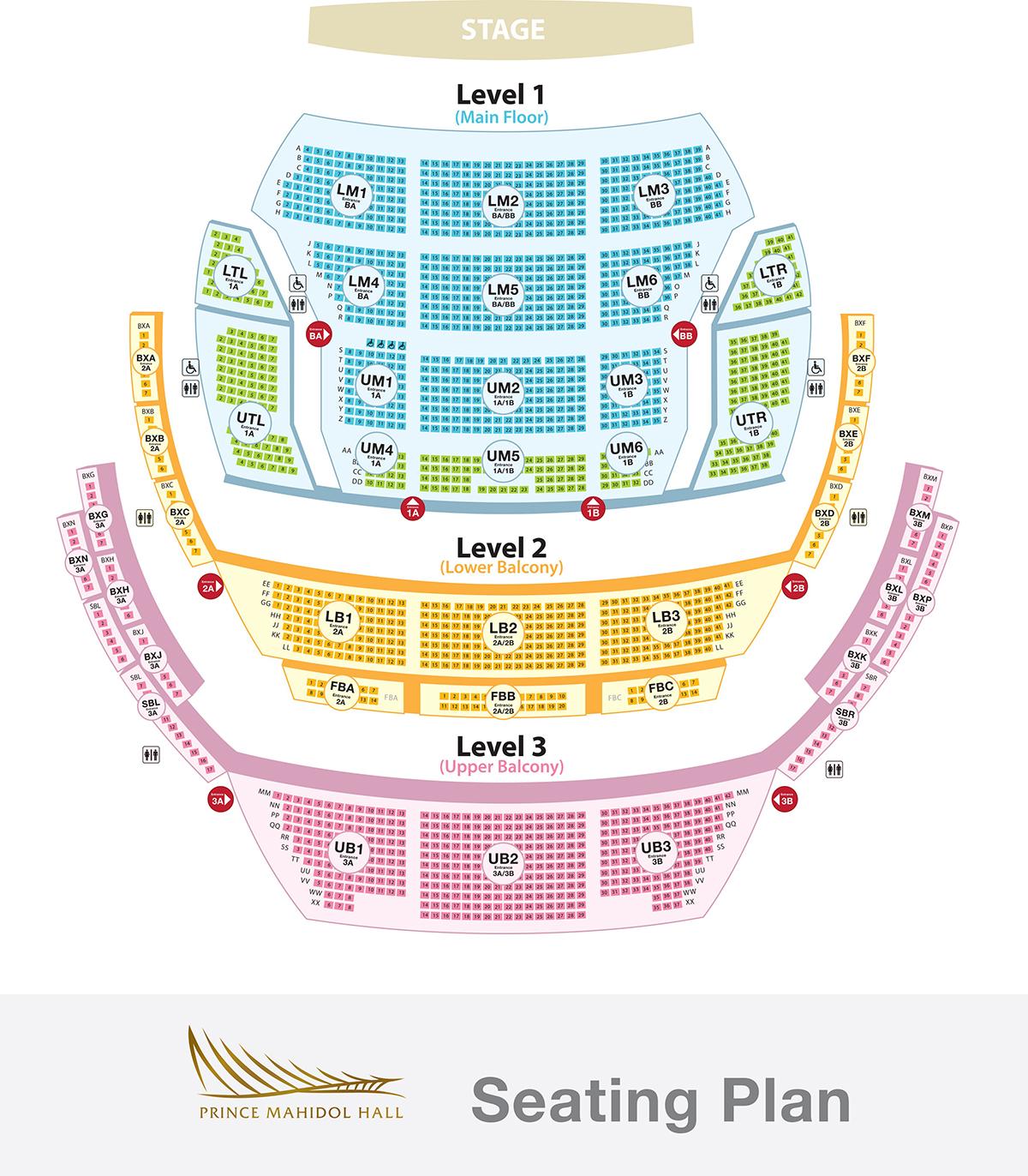 Prince Mahidol Hall Seating Plan